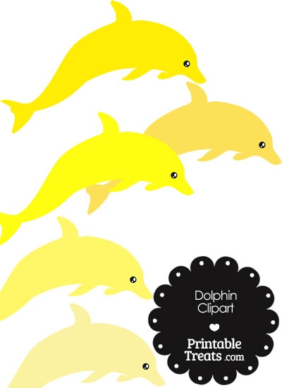 Dolphin Clipart in Shades of Yellow from PrintableTreats.com
