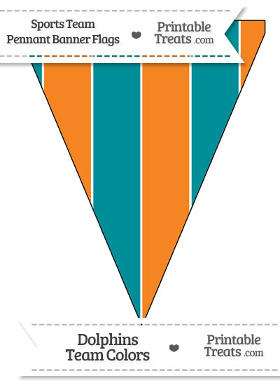 Dolphins Colors Pennant Banner Flag from PrintableTreats.com