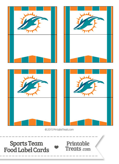 Dolphins Food Label Buffet Cards from PrintableTreats.com