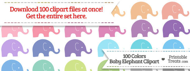Download 100 Colors Baby Elephant Clipart from PrintableTreats.com