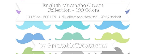 Download 100 Colors English Mustache Clipart from PrintableTreats.com