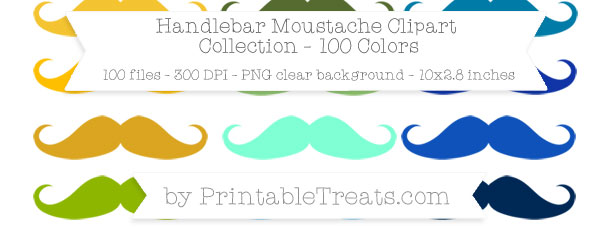 Download 100 Colors Handlebar Moustache Clipart from PrintableTreats.com