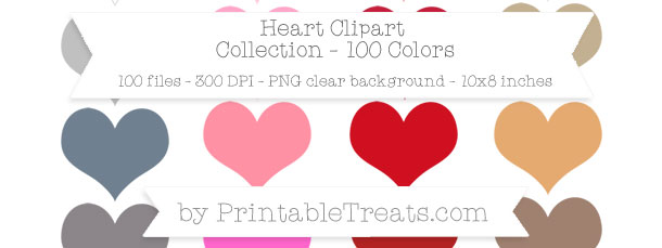 Download 100 Colors Heart Clipart from PrintableTreats.com