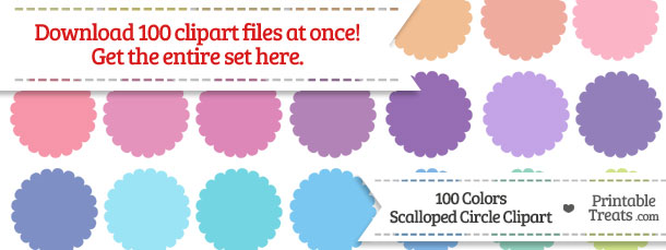 Download 100 Colors Scalloped Circle Clipart from PrintableTreats.com