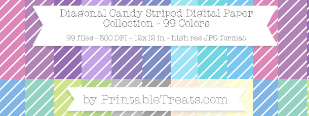 Download 99 Colors Diagonal Candy Striped Digital Paper from PrintableTreats.com