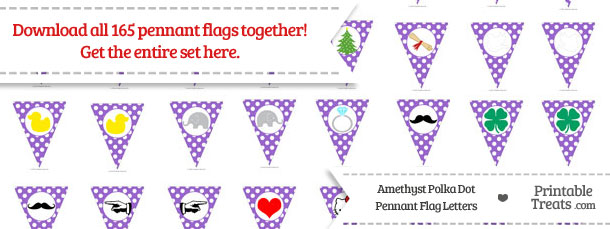 Download Amethyst Polka Dot Pennant Flag Letters from PrintableTreats.com