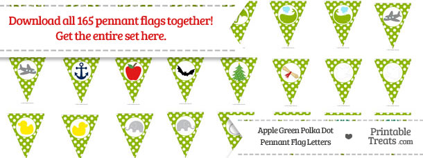 Download Apple Green Polka Dot Pennant Flag Letters from PrintableTreats.com