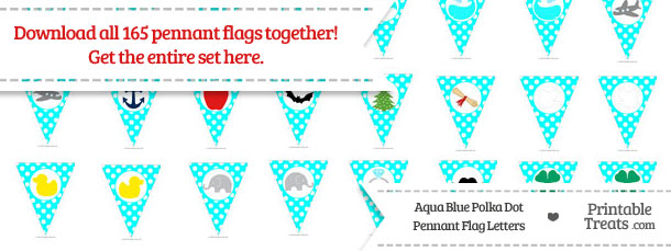 Download Aqua Blue Polka Dot Pennant Flag Letters from PrintableTreats.com