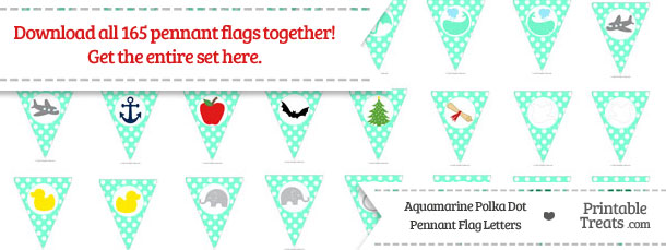Download Aquamarine Polka Dot Pennant Flag Letters from PrintableTreats.com