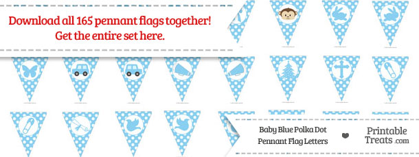 Download Baby Blue Polka Dot Pennant Flag Letters from PrintableTreats.com