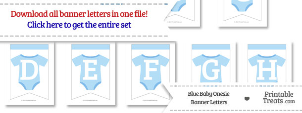 Blue Baby Onesie Bunting Banner Letters Download from PrintableTreats.com