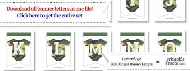 Camouflage Baby Onesie Bunting Banner Letters Download from PrintableTreats.com