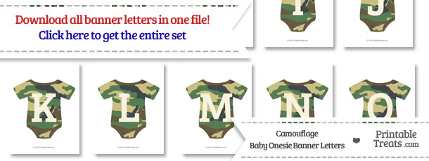 Camouflage Baby Onesie Shaped Banner Letters Download from PrintableTreats.com