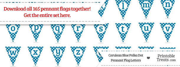 Download Cerulean Blue Polka Dot Pennant Flag Letters from PrintableTreats.com