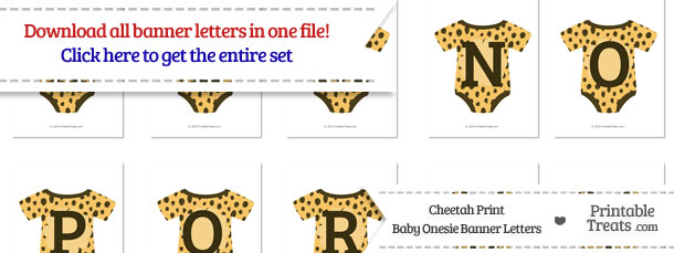 Cheetah Print Baby Onesie Shaped Banner Letters Download from PrintableTreats.com
