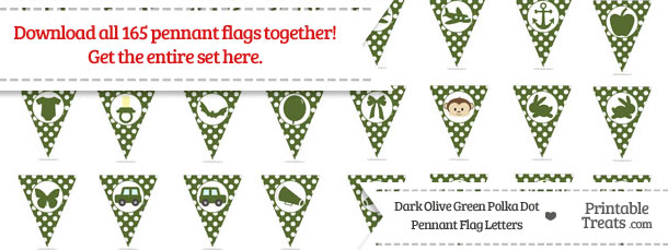 Download Dark Olive Green Polka Dot Pennant Flag Letters from PrintableTreats.com
