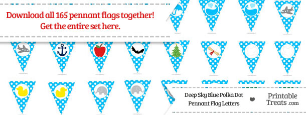 Download Deep Sky Blue Polka Dot Pennant Flag Letters from PrintableTreats.com