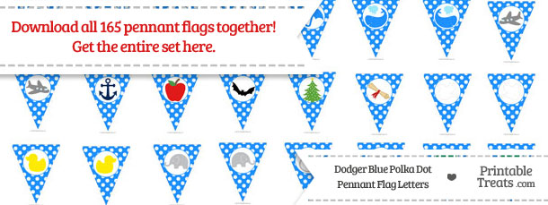 Download Dodger Blue Polka Dot Pennant Flag Letters from PrintableTreats.com