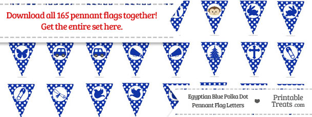 Download Egyptian Blue Polka Dot Pennant Flag Letters from PrintableTreats.com
