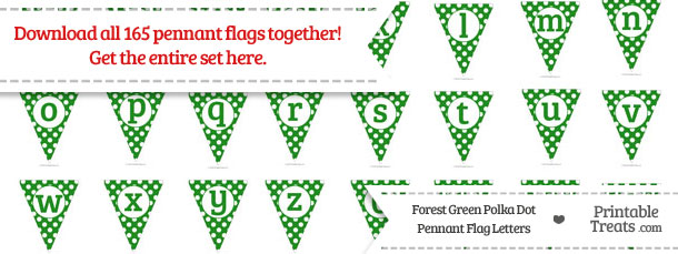 Download Forest Green Polka Dot Pennant Flag Letters from PrintableTreats.com