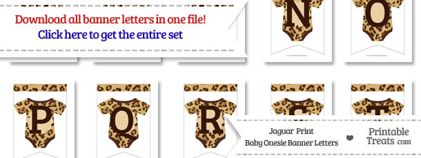 Jaguar Print Baby Onesie Bunting Banner Letters Download from PrintableTreats.com