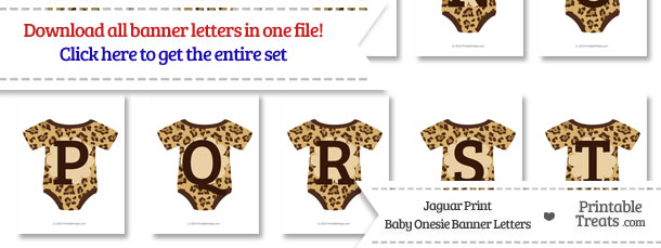 Jaguar Print Baby Onesie Shaped Banner Letters Download from PrintableTreats.com