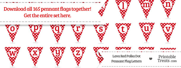 Download Lava Red Polka Dot Pennant Flag Letters from PrintableTreats.com