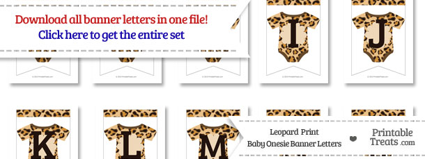 Leopard Print Baby Onesie Bunting Banner Letters Download from PrintableTreats.com