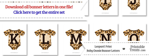 Leopard Print Baby Onesie Shaped Banner Letters Download from PrintableTreats.com