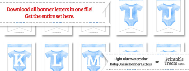 Light Blue Watercolor Baby Onesie Bunting Banner Letters Download from PrintableTreats.com