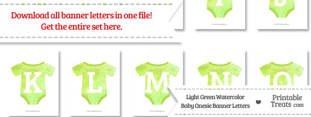 Light Green Watercolor Baby Onesie Shaped Banner Letters Download from PrintableTreats.com