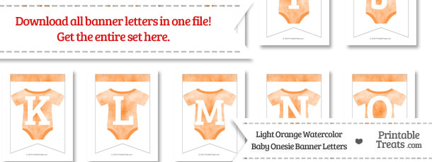 Light Orange Watercolor Baby Onesie Bunting Banner Letters Download from PrintableTreats.com