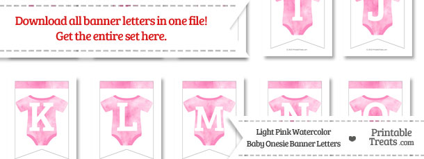 Light Pink Watercolor Baby Onesie Bunting Banner Letters Download from PrintableTreats.com