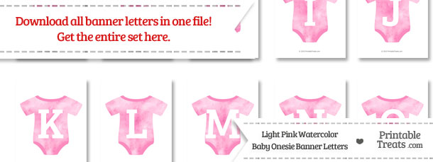 Light Pink Watercolor Baby Onesie Shaped Banner Letters Download from PrintableTreats.com