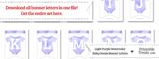 Light Purple Watercolor Baby Onesie Bunting Banner Letters Download from PrintableTreats.com