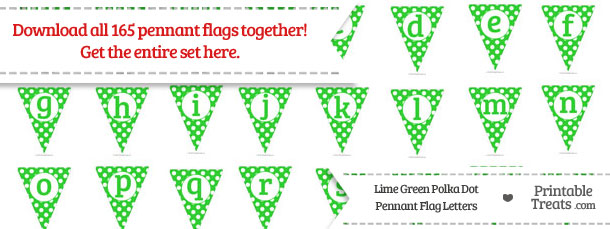 Download Lime Green Polka Dot Pennant Flag Letters from PrintableTreats.com