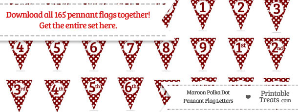 Download Maroon Polka Dot Pennant Flag Letters from PrintableTreats.com