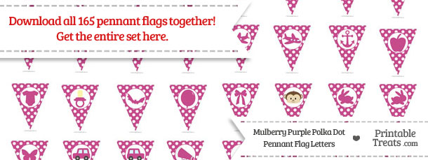 Download Mulberry Purple Polka Dot Pennant Flag Letters from PrintableTreats.com