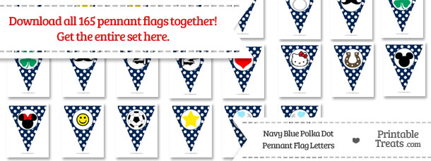 Download Navy Blue Polka Dot Pennant Flag Letters from PrintableTreats.com