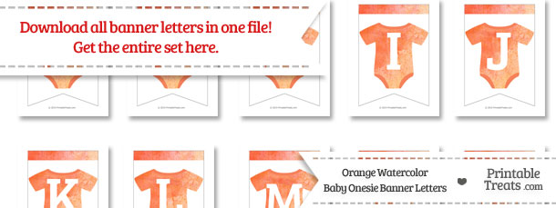 Orange Watercolor Baby Onesie Bunting Banner Letters Download from PrintableTreats.com