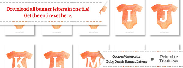 Orange Watercolor Baby Onesie Shaped Banner Letters Download from PrintableTreats.com