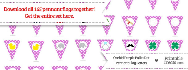 Download Orchid Polka Dot Pennant Flag Letters from PrintableTreats.com