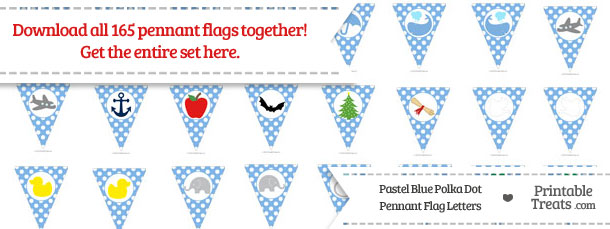 Download Pastel Blue Polka Dot Pennant Flag Letters from PrintableTreats.com