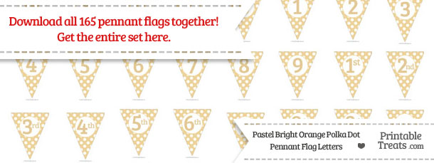Download Pastel Bright Orange Polka Dot Pennant Flag Letters from PrintableTreats.com