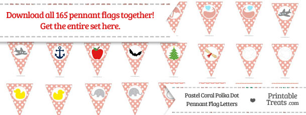 Download Pastel Coral Polka Dot Pennant Flag Letters from PrintableTreats.com