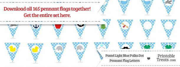 Download Pastel Light Blue Polka Dot Pennant Flag Letters from PrintableTreats.com