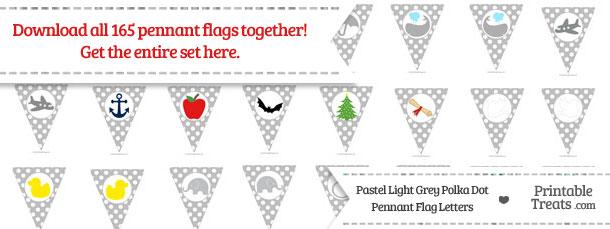 Download Pastel Light Grey Polka Dot Pennant Flag Letters from PrintableTreats.com