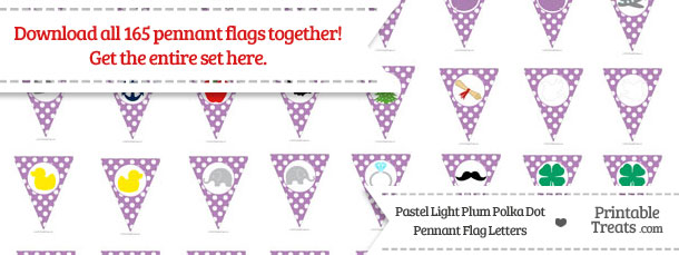 Download Pastel Light Plum Polka Dot Pennant Flag Letters from PrintableTreats.com