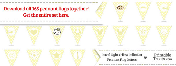 Download Pastel Light Yellow Polka Dot Pennant Flag Letters from PrintableTreats.com
