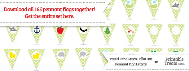 Download Pastel Lime Green Polka Dot Pennant Flag Letters from PrintableTreats.com